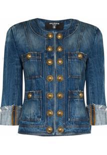 Balmain Jaqueta Jeans Com Abotoamento - Azul