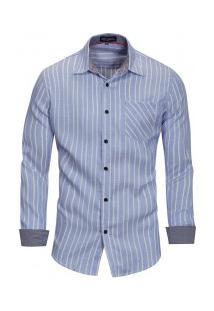 Camisa Masculina Com Listras Verticais Manga Longa - Azul Claro