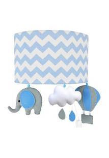 Arandela Meia Lua Elefante Balão Azul Quarto Bebê Infantil Menino