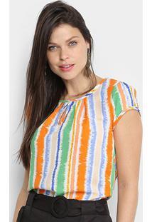 Blusa Dom Listrada Colors Feminina - Feminino-Laranja