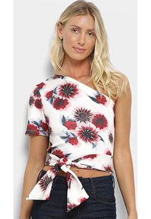 Blusa My Favorite Thing(S) Ombro Único Floral Feminina - Feminino-Branco+Vermelho