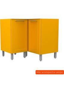 Balcão De Cozinha Play De Canto 2 Pt Amarelo