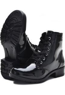 Bota Cano Curto Sw Shoes Verniz Com Zíper Feminina - Feminino-Preto