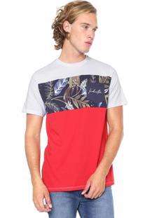 Camiseta Industrie Manga Curta Folhagem Branca/Vermelha