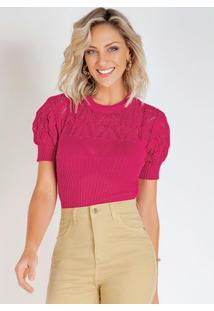 Blusa Em Tricô Pink Com Mangas Bufantes