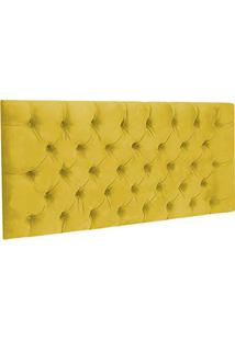 Cabeceira Painel Tais 140Cm Decor Magazine Box Casal Capitone Suede Amarelo