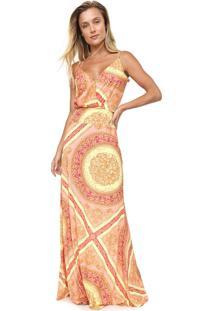 Vestido Lança Perfume Longo Estampado Coral/Amarelo