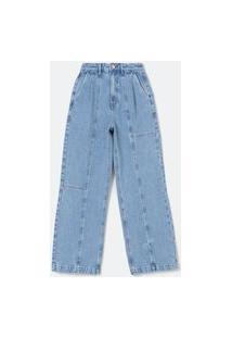Calça Wide Leg Jeans Com Pregas E Recortes Frontais