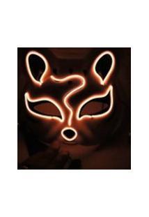 10 Cores Fox Meia Máscara Luzes De Néon Halloween Party Rosto Escuro Led Abajur De Incandescência Cosplay Máscara Traje Do Partido Da Máscara Laranja