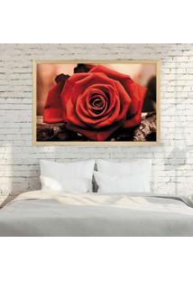 Quadro Love Decor Com Moldura Rosa Vermelha Madeira Clara Grande