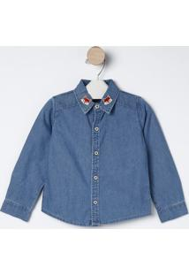 Camisa Jeans Raposinha- Azul & Vermelha- Bakulelêbakulelê