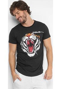 Camiseta Polo Rg 518 Tigre Masculina - Masculino-Preto