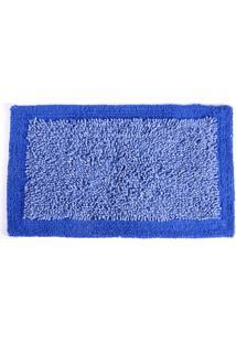 Tapete De Algodão Chenille 50Cm X 80Cm Azul