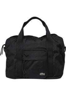 Bolsa Com Bordado Frontal- Preta- 26X38X7Cm- Laclacoste