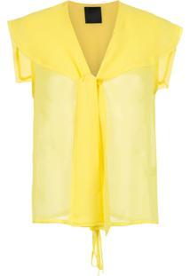 Andrea Bogosian Blusa Translúcida Com Amarração - Amarelo