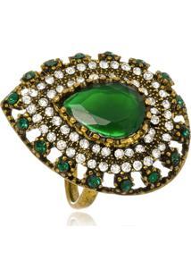 Anel Le Diamond Pedra E Zircônia Verde - Kanui