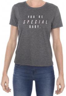 T-Shirt Basic M/C Gola C Com Frase M.Officer Cinza