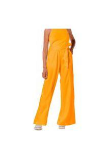 Calça Hering Wide Leg Em Tecido De Viscose Amarelo