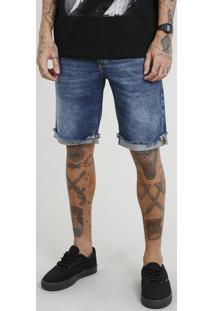 Bermuda Jeans Masculina Slim Com Barra Desfiada Azul Escuro
