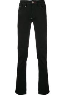 Philipp Plein Tape Logo Skinny Jeans - Preto
