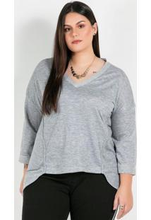 Blusa Plus Size Cinzamescla Com Recortes