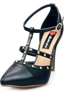Scarpin Love Shoes Social Bico Fino Salto Alto Tiras Spike Preto