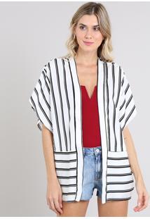Kimono Feminino Listrado Com Recorte Manga Curta Branco