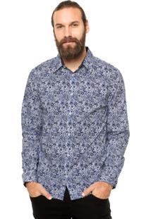 Camisa Manga Longa Colcci Floral Azul