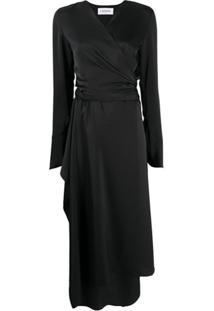 Lanvin Vestido Envelope De Cetim - Preto