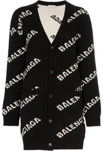 Balenciaga Cardigan Com Logo - Preto