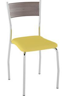 Kit C/ 2 Cadeiras Encosto Tabaco Assento Amarelo Pozza