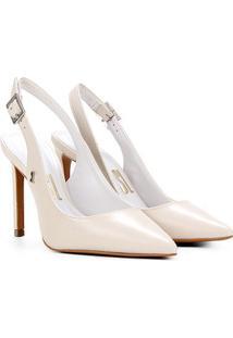 Scarpin Couro Santa Lolla Chanel Salto Alto - Feminino-Off White