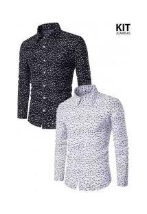 Kit 2 Camisas Masculinas Slim Estampada - Preta E Branca