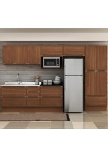 Cozinha Compacta 13 Portas 4 Gavetas 5474R Nogueira/Malt - Multimóveis