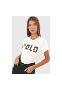 Camiseta Polo Ralph Lauren Paetê Off-White