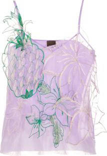Pinko Embroidered Pineapple Detail Top - Roxo