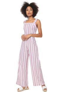 Macacão Fiveblu Pantalona Listrado Off-White