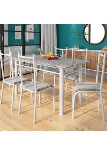 Conjunto De Mesa Granada Com 6 Cadeiras Lisboa Branco Prata E Preto Listrado