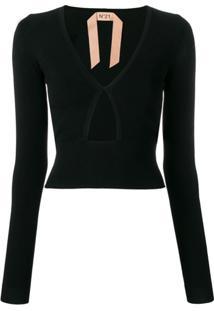 Nº21 Suéter Com Recortes Vazados - Preto