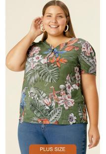 Blusa Verde Tropical Com Peitilho Plus