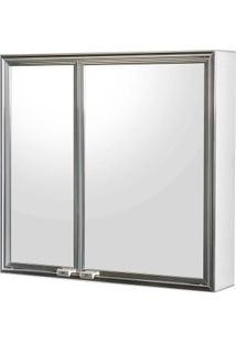 Espelheira De Sobrepor Cristal 1108-8 52,2X48,5Cm Branco Cris-Metal