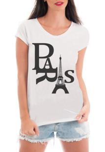 Camiseta Criativa Urbana Rendada Paris Torre Eiffel Branca