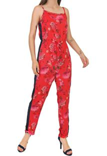 Macacão Malwee Slim Floral Vermelho