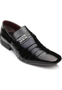 Sapato Social Bkarellus Verniz Masculino - Masculino-Preto