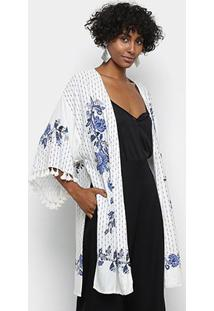Kimono Farm Arara Chintz Feminino - Feminino-Off White