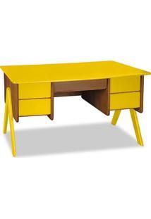 Escrivaninha Vintage 4 Gv Nogal E Amarela