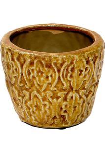 Vaso Decorativo- Amarelo Escuro- 9,5Xø11,5Cm- Dedecor Glass