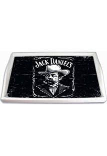 Bandeja Retrato Jack Daniels Preto E Branco Pequena Em Mdf - 32X19,5 Cm