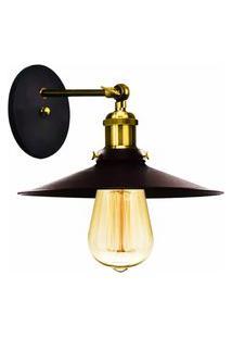 Arandela Industrial Vintage Nordic Loft Preto Com Dourado