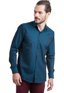 Camisa Di Sotti Maquinetada Azul - Masculino